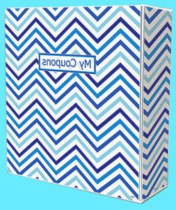 3-Ring Coupon Organizer Binder - Chevron Blue