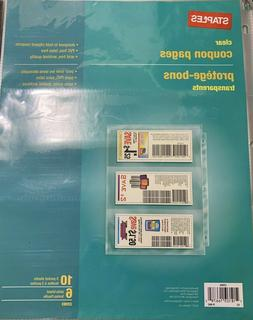 """Staples 3 Pocket, Clear Coupon Pages, 8-1/2"""" X 11"""", 10 Sheet"""