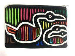 Black Colorful Neon Swan Bird Makeup Bag Coin Purse Pouch Co