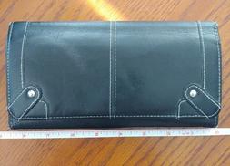 Black Genuine Leather Expandable Coupon Organizer Clutch Wal