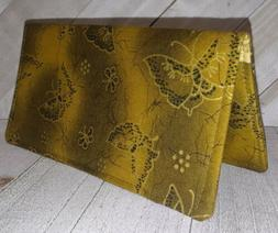 Gold Butterfly Wallet Bifold 2 Pockets Document Coupon Money