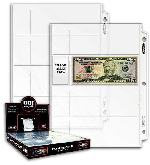 BCW Pro Poly 4-Pocket Currency Page, 10 pack