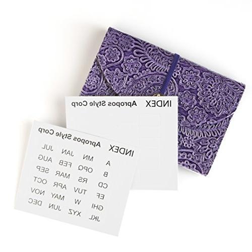 Purple Leather 13 12 Coupon Recipe Organizer, Receipt Sticker Organizer,
