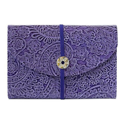 Purple Paisley Faux 13 pockets, Coupon Organizer, Photo Recipe Receipt Organizer, Sticker Cash Organizer