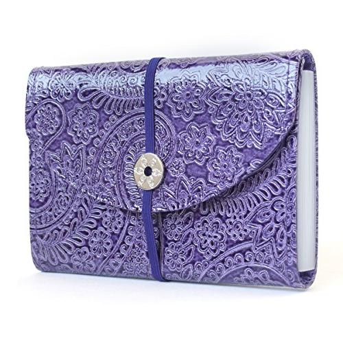 Purple Paisley Faux Leather 13 pockets, 12 tabs Coupon Organ