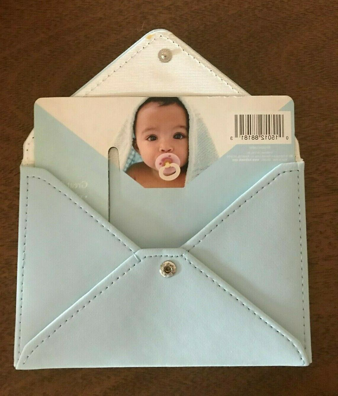 blue envelope wallet holder coupon photo picture