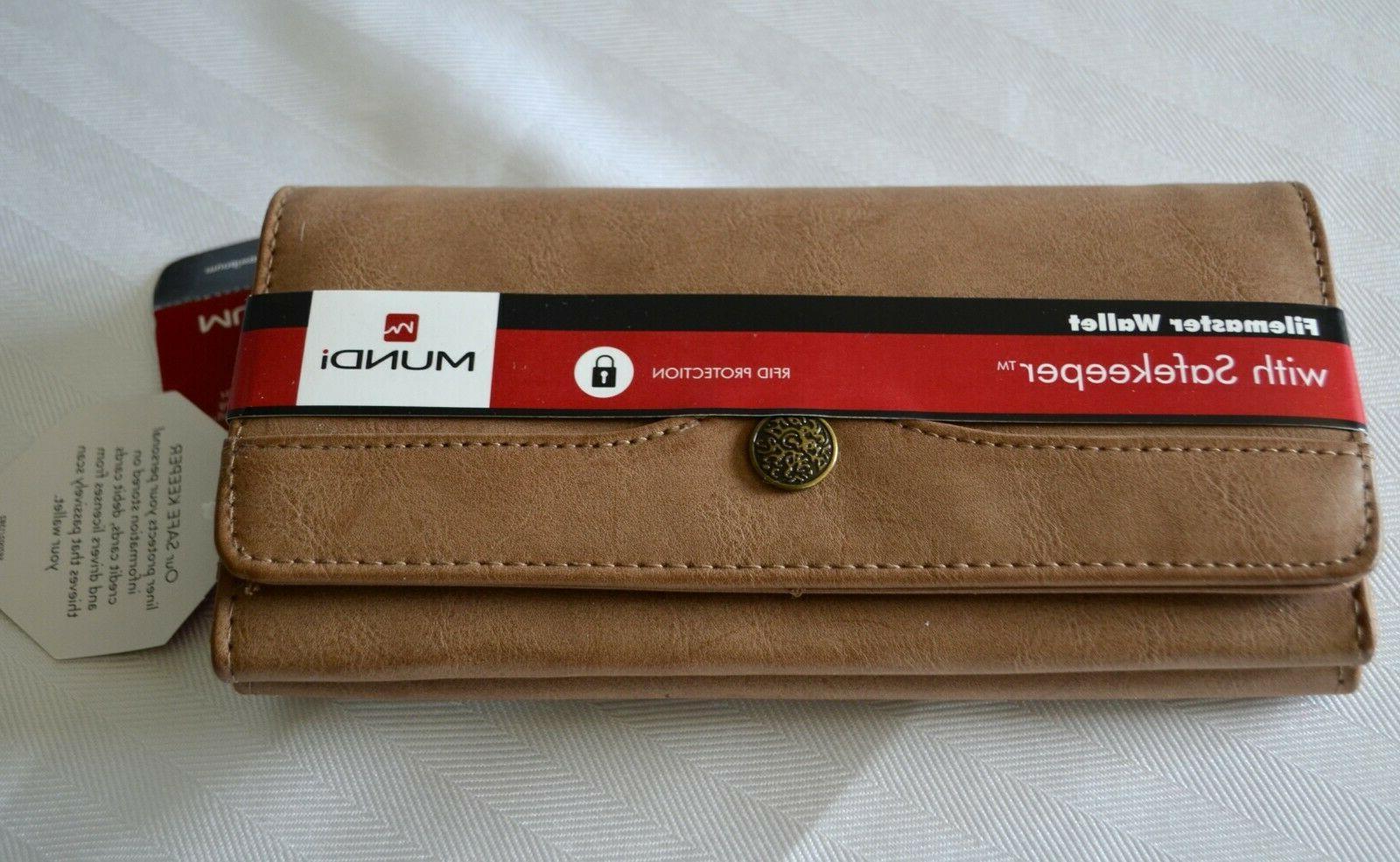 file master safekeeper wallet clutch brown rfid