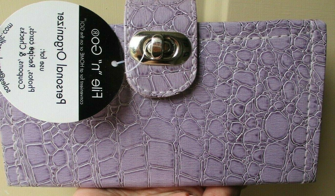 file n go personal organizer clutch purple