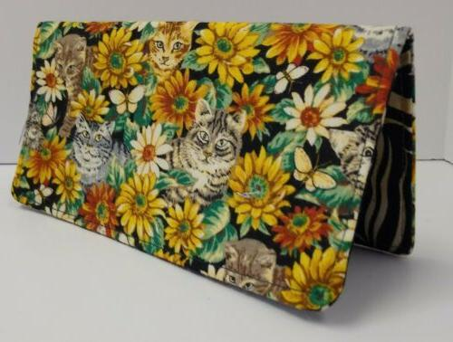 garden cats fabric checkbook cover wallet document