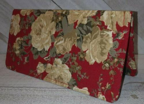 garden rose fabric checkbook cover wallet document