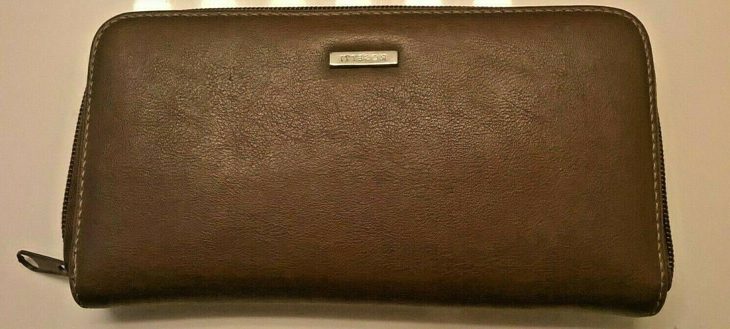 leather clutch purse wallet brown coin coupons