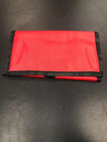 red with black trim coupon organizer holder
