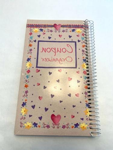 vintage coupon organizer spiral bound booklet hearts