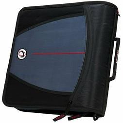 Case-it Mighty Zip Tab 3-Inch Zipper Binder, Black, D-146-BL