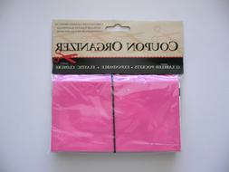Pink Coupon Organizer Holder 12 Labeled Pockets Expandable B