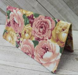 Pink Roses Fabric Checkbook Cover Wallet Document Coupon Org