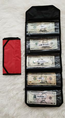 Red Cash Organizer wallet with 5 slots for couponing and bud