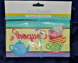 Teapot Tea Cups Coupon Organizer 12 Pockets Expandable Elast