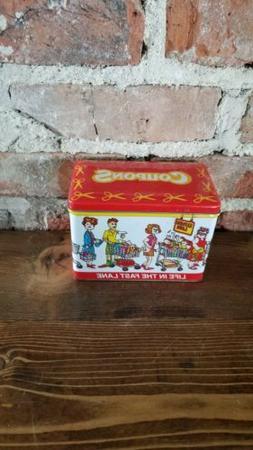 Vintage Colorful Food Coupon Organizer Holder tin Metal Groc