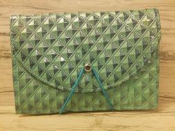 Womens Wallet Organizer File Coupon Holder Green NEW - B151
